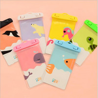 Wholesale cell phone hanging cartoons resale online - Cute Cartoon Apple IPhone7 Hanging Neck Photo Diving Underwater Swimming Transparent Mobile Phone Protection Waterproof Bag