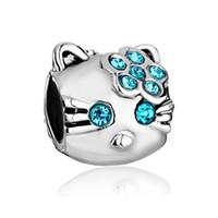 kitty katze perlen großhandel-Blauer Kristallrhinestone gepflasterte Katze Tierperle Hallo Kitty In Rhodium Silber Farbe Beschichtung Charm Fit Pandora Armband