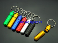 Wholesale Wholesale Containers Bottles Boxes - 100pcs lot Aluminum pill container box case stash boxes witn keychain key ring pill holders medicine case pill Bottle organizer 50*14mm