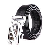 Wholesale Boys Black Dress Belt - Casual Fashion Sports Mens Belt Ratchet Leather Dresses Durable Good Belts for Men Boys Automatic Buckle 3.5cm xxl lzw11