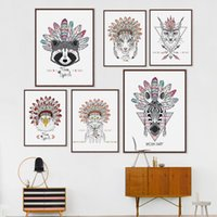 Animais Indianos Modernos Cabeça Deer Cavalo Zebra A4 Poster Hippie Feather Wall Art Picture Nordic Home Decor Canvas Painting No Frame