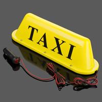 señales de techo del coche al por mayor-LED 12V Coche Taxi Cab Roof Top Sign Lámpara de luz Magnética Amarillo / blanco | Taxi Top Light