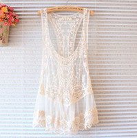 Wholesale Lace Vests For Women - Sexy Beach Embroidery Beige Vintage Retro Sweet Cute Casual Crochet Floral Hollow Lace Vest Slim Bohemia Tank Top Tee Blouse For Women A4889