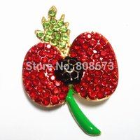 12PCS / LOT Lot Cheap Wholesale Très Belle Rouge cristal étincelle strass Poppy Broche Pins UK Fashion Badge Poppy