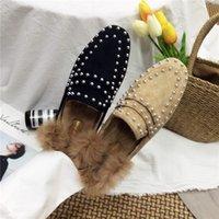 Wholesale Closed Toe Slingbacks - Rivet Flat Winter Shoes Woman Fur Slides Real Rabbit Hair Suede Slippers Slip On Loafers Slingback Closed Toe Slipper