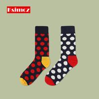Wholesale Dots Point Socks - Wholesale- 1 Pair KSJMCZ Big Wave Point British Style Men's Cotton Dots Happy Socks Neutral socks