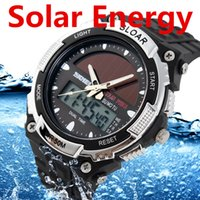Wholesale Led China Watches - SKMEI 5A TM Watch Outdoor Sport Watches Solar Power LED Digital Quartz Waterproof 50M PU Watchband ABS Shell For Mens Women China