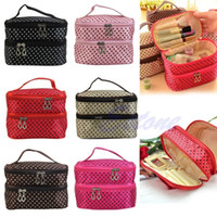 Wholesale Makeup Case Zip - Wholesale-Women Portable Cosmetic Polka Dots Organizer Beauty Makeup Case Pouch Zip Bags