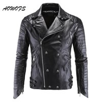Wholesale Black Quilted Leather Jacket - Wholesale- AOWOFS Mens Leather Jackets Black Motorcycle PP Skull Leather Jackets Rivets Zipper Slim Fit Quilted Punk Jacket Biker Coat 5XL