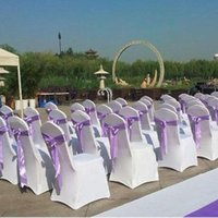 Wholesale white satin banquet chair covers - Thick Universal Elastic Wedding Party chair covers White spandex lycra chair cover for Wedding Party Banquet many color