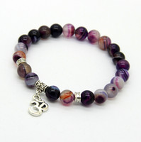 Wholesale Om Beads - New Arrival Jewelry Sets 8mm Beaded Natural Purple Agate Stone Beads OM, Hamsa Yoga Braclets, Best Gift for men and women