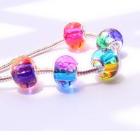 Wholesale Cheap Pandora Beads Wholesale - 2016 NEW!DIY big hole glass beads,Rainbow color Pandora charm bracelet accessories,wholesale Loose beads,Fashion cheap jewelry.20pcs.DB