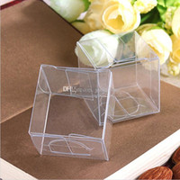 Wholesale Boxes Paper Towels - 100pcs lot 4x4x4 CM PVC Clear Package Box Square Plastic Containers Jewelry Gift Box Candy Towel Cake Box Free Shipping