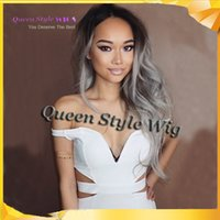 mamie noir achat en gros de-Beauty wigs two tone Ombre Gray Wig Synthetic Lace Front Glueless Long Natural Black 1B Gray Heat Resistant Granny Hair Wigs