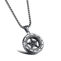 Wholesale Roman Numerals Silver Necklace - Silver Car Wheel Rim Pendant Necklace Racing Necklace Stainless Steel Rocker Punk Tire Necklace with Roman Numerals Design