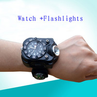 Wholesale Camping Flashlight Design - Newest Design Wrist Watch flashlight Rechargeable flashlight torch handy torch with Compass camping light free shipping
