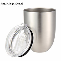 Wholesale coating mug for sale - 10oz Egg Cup Double Layer Stemless Mugs Powder Coated Stainless Steel Beer Wine Glasses Vacuum Insulated Cups with clear lids