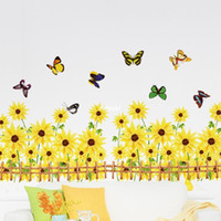 Wholesale Cartoon Sunflower Wall Decal - 10pcs AM5002 Factory outlets] Sunflower skirting environmental PVC transparent film Wall Stickers