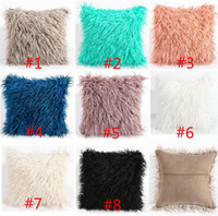 Wholesale Wholesale Luxury Sofas - DHL Long Plush Pillowcase Long-wool Soft Warm Cushion Cover 8 colors 45x45cm Suede Luxury Pillow Cover Bed Sofa Car Christmas decorations