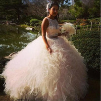 Wholesale Two Piece Quinceanera Dress - Two Pieces Quinceanera Dresses With Cascading Ruffles 2016 Jewel Beaded Crystal Prom Dresses Junior Long Ball Gown Sweet 16 Dresses Custom