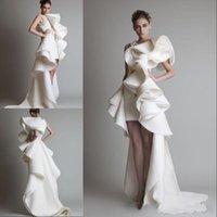 fildişi kılıf balo elbisesi toptan satış-Gelinlik Bir Omuz Aplikler Ruffles Kılıf Hi-Lo Organze Pageant Elbise Beyaz Fildişi Krikor Jabotian Katmanlı Gelin Önlükler