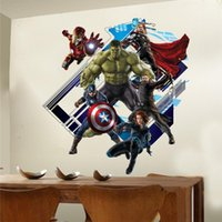 Wholesale Hero Wall Poster - WHOLESALE super hero wall stickers kids room decor y007. diy home decals cartoon movie fans mural cover art pvc print poster 5.0