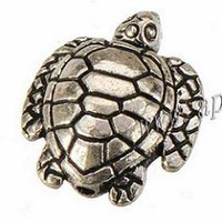 Accessori di gioielli Beads Tortoise braccialetti DIY collane Craft piatto antico animale d'argento delle navi in ​​metallo di modo libero dei commerci all'ingrosso 16 * 14 * 100pcs 5mm