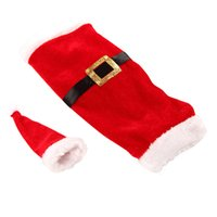 Wholesale Santa Boots Decorations - Snow Boots 10Pcs Lot Christmas Santa Clause Clothing Hat Dress Wine Bottle Cover Bag Christmas Gift New Christmas Wine Bottle bags