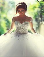 vestido de novia de dos piezas en la foto al por mayor-2016 Vestidos De Novia vestido de bola de cristal rebordear tul Bling vestidos de novia Sheer manga larga vestido de novia por encargo