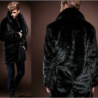 Elegante Casual Business Solide manteau herren Winter Faux Pelz Mantel Mode Lange Plus Größe Große Pelzkragen Kaninchen Pelzmantel V542