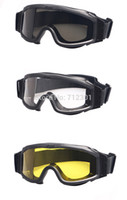 Wholesale Army Green Helmet - ESS Profile NVG Military Goggles Fit with Helmets, Ballistic 3 Lens Night Vision Men Army Sunglasses, Tactical Combat Eyeshields