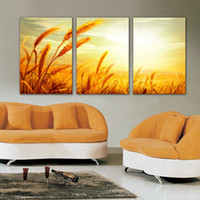 Wholesale Abstract Oil Painting Beach - 3 Pieces Free Shipping Home decoration on Canvas Prints wheat Grassland sandy beach peacock Daisy The wild sea Palm tree autumn nature