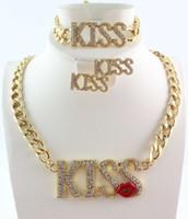 collier à lèvres plaqué or achat en gros de-Femmes plaqué or cristal sexy kiss lèvre charme collier bracelet boucles d'oreilles ensembles de bijoux