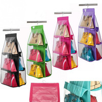 Wholesale Wall Hanging Storage Pockets - Wholesale- 4 Color Fashion 6 Pockets Hanging Storage Bag Purse Handbag Tote Bag Storage Organizer Closet Rack Hangers