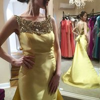 Wholesale Elegant Beaded Satin Wedding Dress - Real Images Yellow Long Prom Dresses Backless Beaded Bateau Bow Sweep Train Satin 2016 Elegant Wedding Formal Evening Dress Gowns for Party