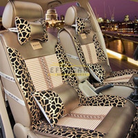 capas de assentos de carros de luxo venda por atacado-Novo Luxo Elegante Leopardo Tampa de Assento Do Carro Conjunto Padrão Auto Acessórios Cobre Almofada Do Assento de Carro de Couro PU