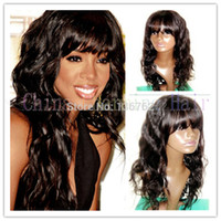 Wholesale Cheap Monofilament - New sale straight bang glueless full lace wigs front lace wigs cheap sale 8a stock 100% brazilian virgin human hair wig with bangs DHL free
