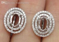 Wholesale Diamond Oval Earring Semi Mount - Wholesale-Beautiful 5X7mm Oval Cut 14kt White Gold & 0.41ct Diamond Semi Mount Earring Setting