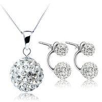 Wholesale Necklace Earrings Silver 925 Shamballa - New Fashion White Shamballa Set 100% Silver 925 Sterling Silver Jewelry Sets for Women Necklace + Earring Solid Silver
