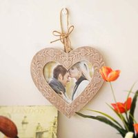 Wholesale European Picture Frames - Heart Shaped Picture Frames 2015 European Creative Vintage Photo Frame Wooden Marcos De Fotos Madera Retro Heart Picture Frames