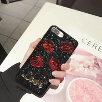 Wholesale Iphone Blink - Fashion 3D embossed lip pattern Blinking love black phone case for iPhoneX 6 7 6S 7plus TPU+hard back cover for iPhone8 8plus
