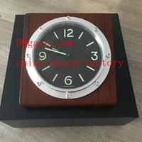 Wholesale Wood Wall Watch - Luxury Classical Wood Platinum Watch Brand Clock Gift Box Home Wall Clocks Blue Luminescent Quartz Movement Factory Supplier