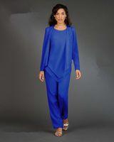 imagens peça vestidos longos venda por atacado-Nova Imagem Real Ladies Designer 3-Piece / set Azul Chiffon Mãe da Noiva Pant Ternos Mangas Compridas Mulheres Vestidos de Festa Senhora Vestidos de Noite