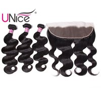Wholesale unice hair for sale - UNice Hair Virgin Peruvian Body Wave Bundles With Frontal Closure Hair Weaves With x4 Lace Lace Frontal Ear to Ear Weaves Closure Remy