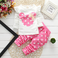Wholesale Baby Girl Cute Polka Dotted - Kids Clothes 2016 Fashion baby clothing New Baby Girl Long Sleeve T-Shirts +Polka Dot Pants Cotton Minnie Children Clothing