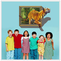 Wholesale Decorative View Window - Free shipping [funlife] - Removable large 3D window view tiger is coming Living room Decals Decorative Wall Stickers 70cmx100cm
