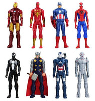 Wholesale Super Hot Models Men - 2017 hot 30cm Anime Super hero Iron Man Captain America Spiderman Green Goblin Venom Ultron PVC Action Figure Can Moved Model Toys