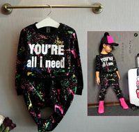 Wholesale Girls Sports Uniforms - Wholesale- Autumn Winter Style Baby Girls Graffiti O-neck 2pcs set Kids School Tracksuit Uniform Sport Suit Clothing Sets