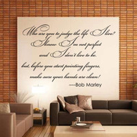 Wholesale Bob Marley Decals - Quote Wall Decals Who Are You To Judge The Life Live By Bob Marley Home Decor Creative Decorative Removable Wall Stickers