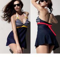 Wholesale Sailor Bikini Bathing Suit - 2015 New Hot Sailor Stripe Women One Pieces Padded Beach Swimwear Sexy Swimsuit Dress Navy Blue Plus Size Sexy Bathing Suit M L XL XXL XXXL